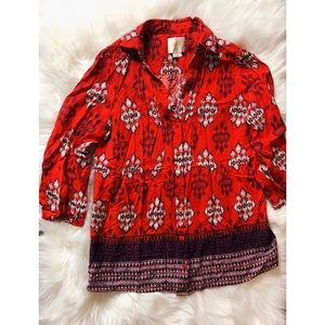Red Patterned Anthropologie Blouse